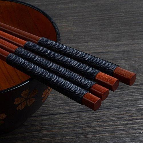5 Paar Essstäbchen Japanische Natur Chopsticks aus umweltfreundlichem hölzernen in edler Schatulle Geschenkbox - 3