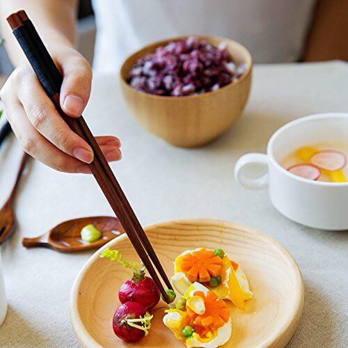5 Paar Essstäbchen Japanische Natur Chopsticks aus umweltfreundlichem hölzernen in edler Schatulle Geschenkbox - 6