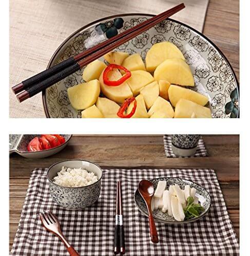 5 Paar Essstäbchen Japanische Natur Chopsticks aus umweltfreundlichem hölzernen in edler Schatulle Geschenkbox - 7