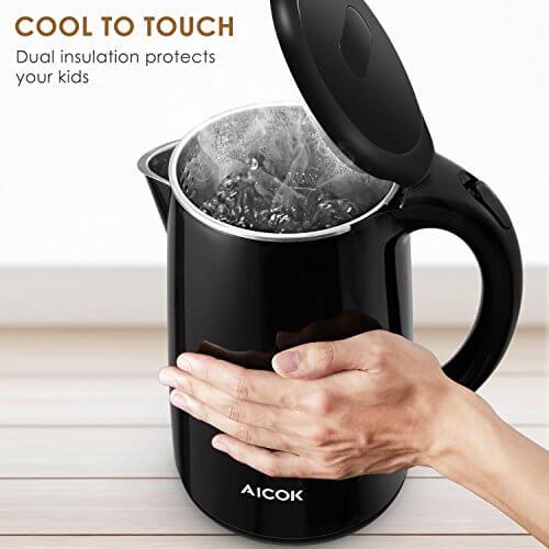 Aicok Wasserkocher Edelstahl Cool Touch Doppelwand-Design Schnell Heizung , Große Lippe für die Füllung und Reinigung Auto-Abschaltung Kabellose 360-Grad-Drehung, 1,7 Liter 2150W Schwarz - 2