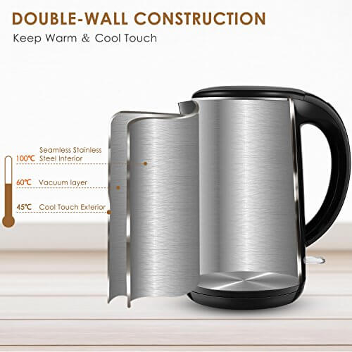 Aicok Wasserkocher Edelstahl Cool Touch Doppelwand-Design Schnell Heizung , Große Lippe für die Füllung und Reinigung Auto-Abschaltung Kabellose 360-Grad-Drehung, 1,7 Liter 2150W Schwarz - 3