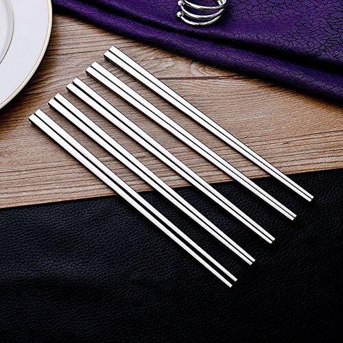 Leaptech Qualitäts-Metall Essstäbchen Luxus-Platz Edelstahl Essstäbchen Hotel Restaurant Essstäbchen Set (5pair) - 3
