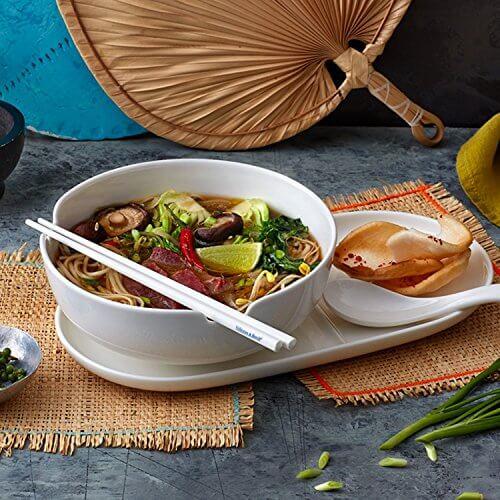 Villeroy & Boch Soup Passion Asia Schale / Praktische Suppenschüssel mit Stäbchen-Ablage / Spülmaschinenfest / Für 1 Person / Ø 20,5cm - 3
