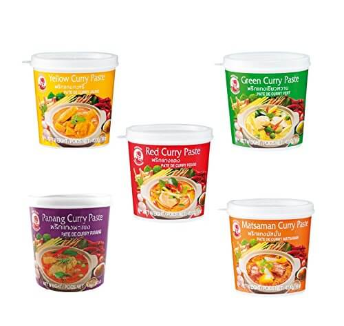 5er Set Cock Curry Paste 5 x 400g Gelb - Grün - Rot - Matsaman - Panang Thai rote gelbe Pamai Pai® - 1