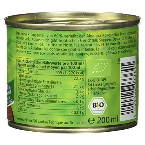 Alnatura Bio Kokosmilch, vegan, 12er Pack (12 x 200 ml) - 5