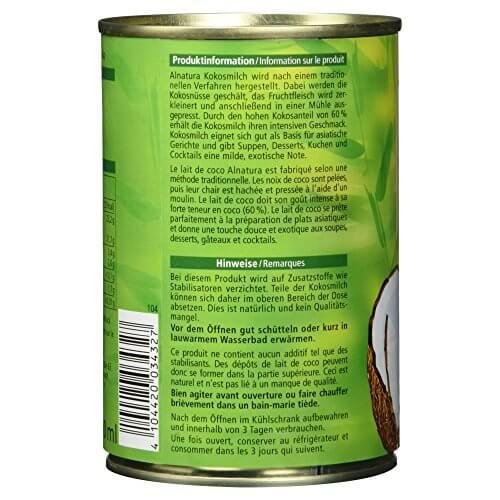 Alnatura Bio Kokosmilch, vegan, 6er Pack (6 x 400 ml) - 5