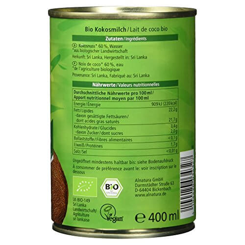 Alnatura Bio Kokosmilch, vegan, 6er Pack (6 x 400 ml) - 6
