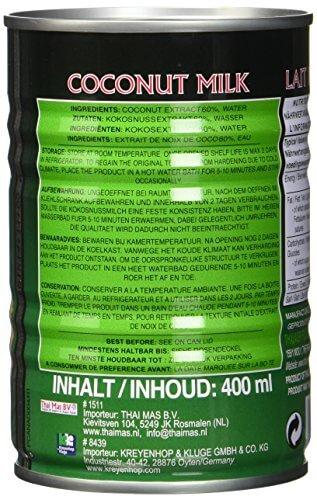 Aroy-D Kokosnussmilch, Fettgehalt: ca. 17%, 12er Pack (12 x 400 ml Packung) - 5