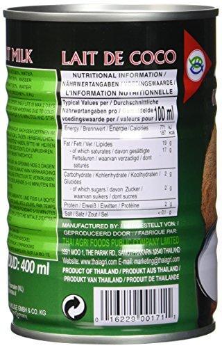 Aroy-D Kokosnussmilch, Fettgehalt: ca. 17%, 12er Pack (12 x 400 ml Packung) - 6