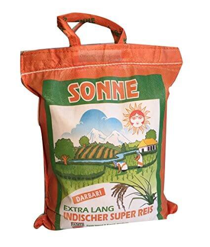 Basmati Reis Sonne Extra Lang Khorshid Darbari 10 KG super langkorniger Reis basmatirice Traditional Basmati, Indien, Himalaya - 3
