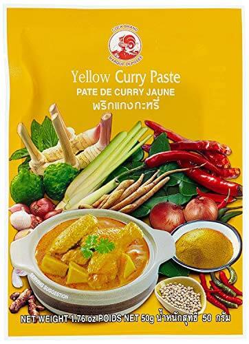 Cock Brand - 5 verschiedene Curry Pasten je 50g (Rote, Gelbe, Grüne, Panang, Matsaman) - 3