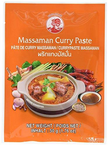 Cock Brand - 5 verschiedene Curry Pasten je 50g (Rote, Gelbe, Grüne, Panang, Matsaman) - 5