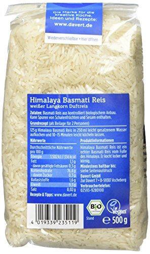 Davert Himalaya Basmati Reis weiß, 4er Pack (4 x 500 g) - Bio - 4