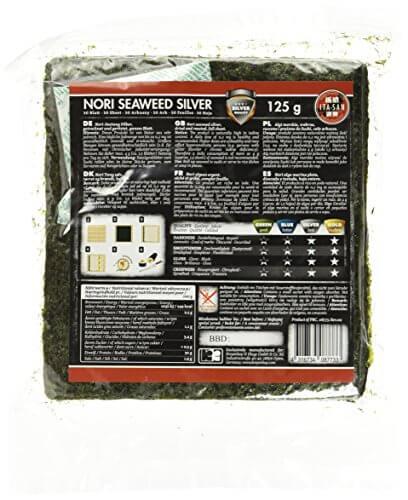 ITA-SAN Seetang, geröstet, für Sushi, ganzes 50 Blatt, nori silber, 1er Pack (1 x 125 g) - 3