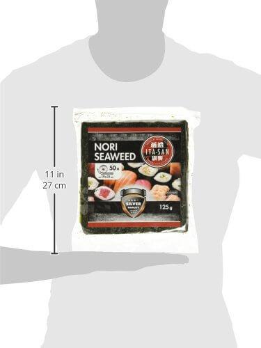 ITA-SAN Seetang, geröstet, für Sushi, ganzes 50 Blatt, nori silber, 1er Pack (1 x 125 g) - 4