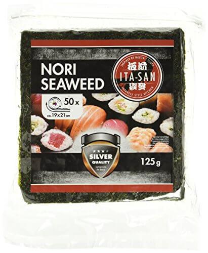 ITA-SAN Seetang, geröstet, für Sushi, ganzes 50 Blatt, nori silber, 1er Pack (1 x 125 g) - 1