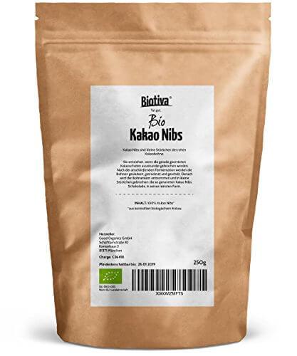 Kakao-Nibs ungeröstet Bio (250g) - 100% Bioqualität - Kakaobruch - Rohe Kakaonibs - abgefüllt und kontrolliert in Deutschland (DE-ÖKO-005) - 2