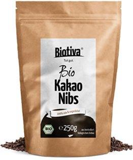 Kakao-Nibs ungeröstet Bio (250g) - 100% Bioqualität - Kakaobruch - Rohe Kakaonibs - abgefüllt und kontrolliert in Deutschland (DE-ÖKO-005) - 1