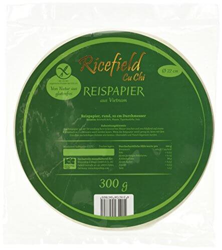 Ricefield Reispapier, rund, 22 cm, 1 Pack (300 g Packung) - 4