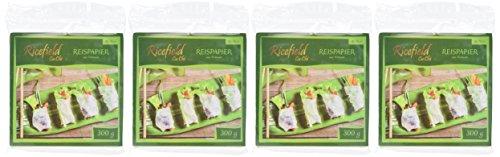 Ricefield Reispapier, viereckig, 16 cm, 4er Pack (4 x 300 g Packung) - 2