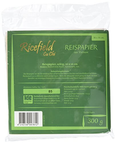 Ricefield Reispapier, viereckig, 16 cm, 4er Pack (4 x 300 g Packung) - 5