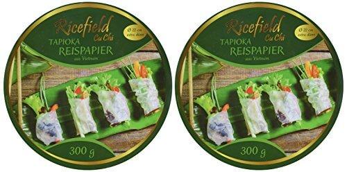 Ricefield Tapioka-Reispapier, rund 22 cm, Premiumqualität, 2er Pack (2 x 300 g Packung) - 2
