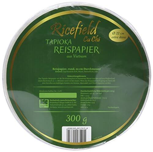 Ricefield Tapioka-Reispapier, rund 22 cm, Premiumqualität, 2er Pack (2 x 300 g Packung) - 5